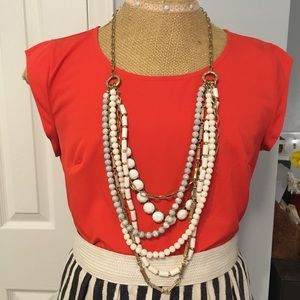 Jewelry - Long layered white necklace